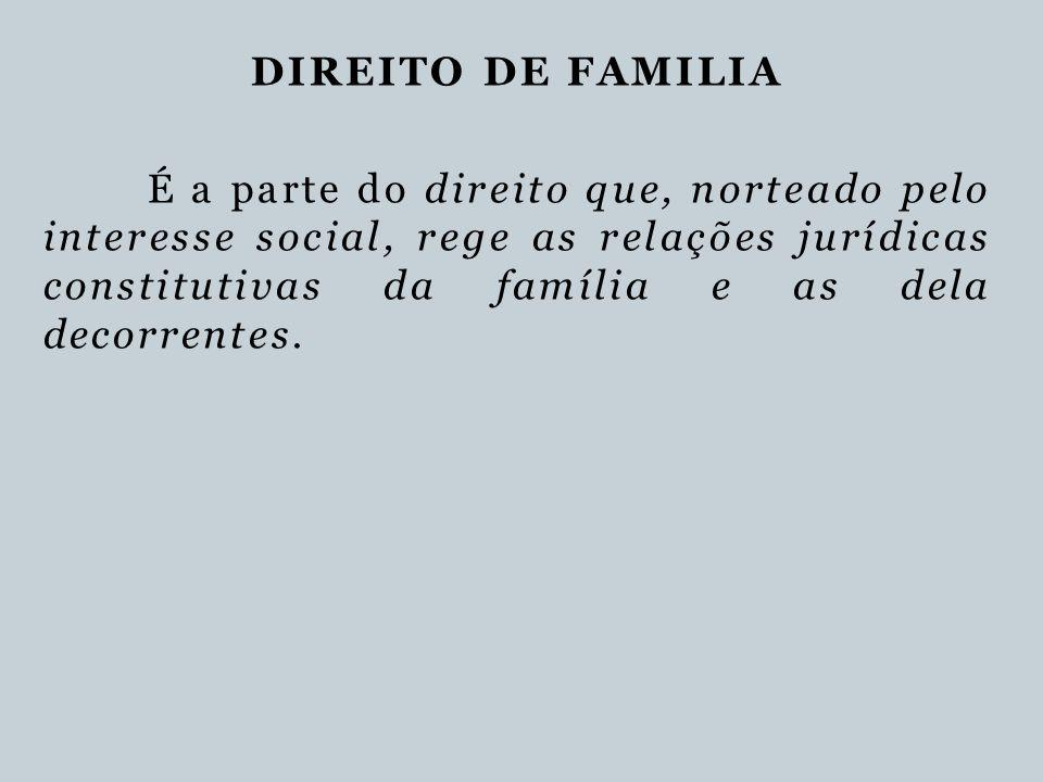 DIREITO DE FAMILIA É a parte do direito que, norteado pelo interesse social, rege as relações jurídicas constitutivas da família e as dela decorrentes