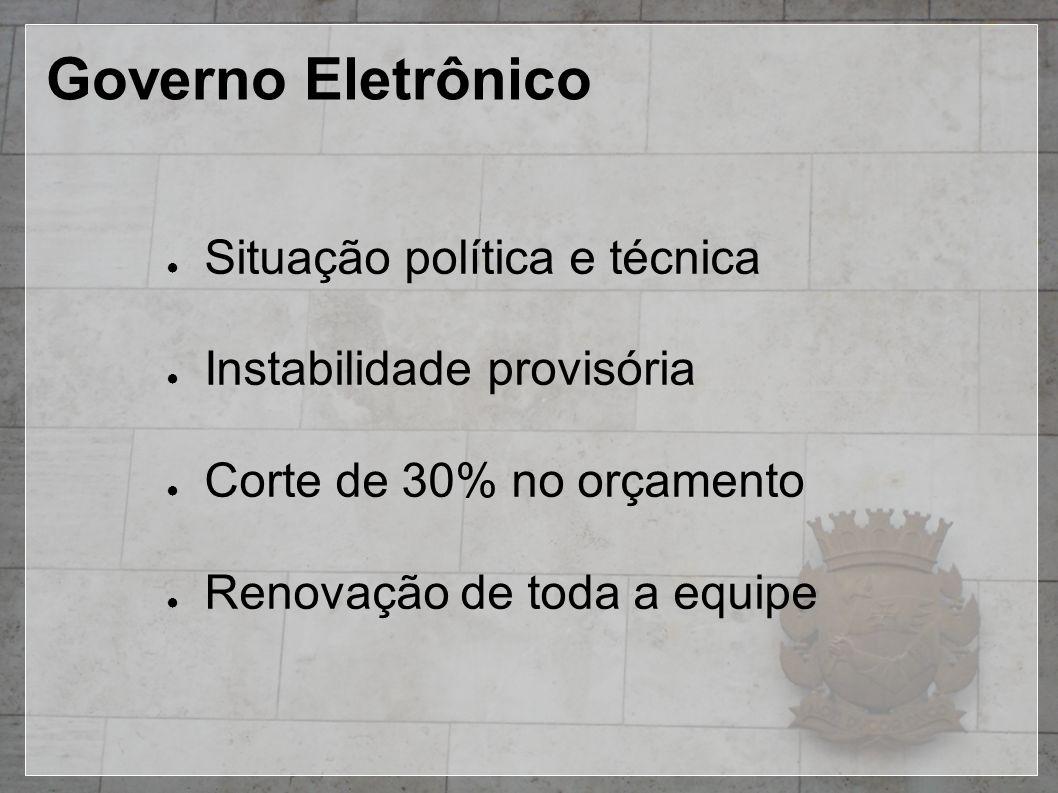 Governo Eletrônico ● Situação política e técnica ● Instabilidade provisória ● Corte de 30% no orçamento ● Renovação de toda a equipe