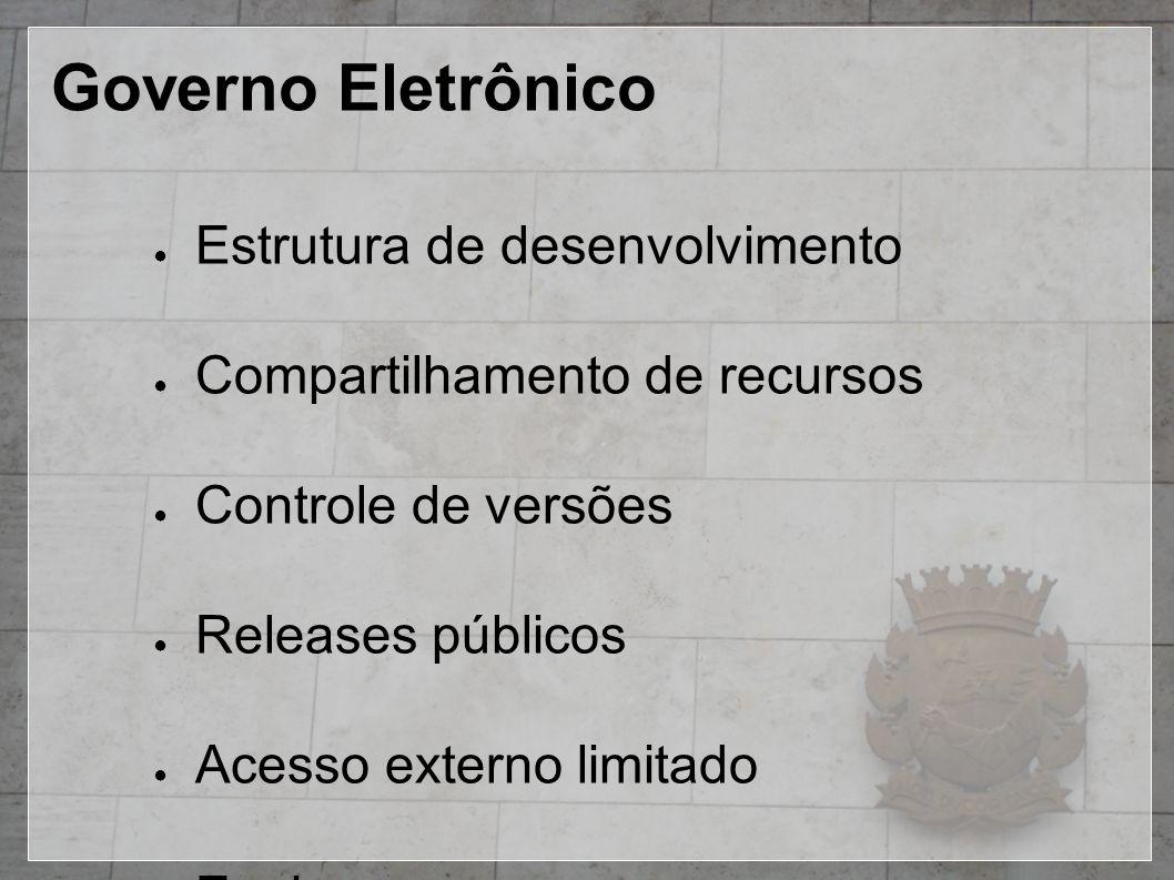 Governo Eletrônico ● Estrutura de desenvolvimento ● Compartilhamento de recursos ● Controle de versões ● Releases públicos ● Acesso externo limitado ●