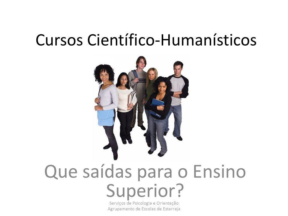 Cursos Científico-Humanísticos Que saídas para o Ensino Superior? Serviços de Psicologia e Orientação Agrupamento de Escolas de Estarreja