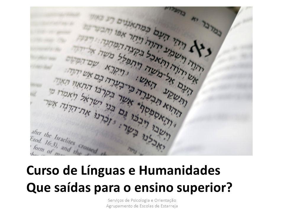 Curso de Línguas e Humanidades Que saídas para o ensino superior?