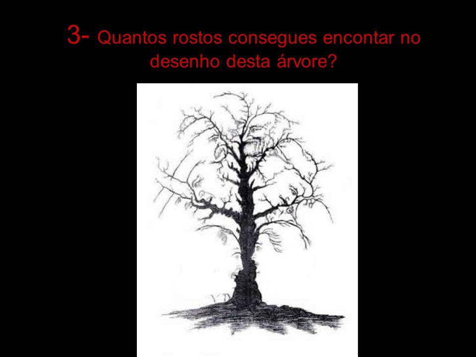 3- Quantos rostos consegues encontar no desenho desta árvore?