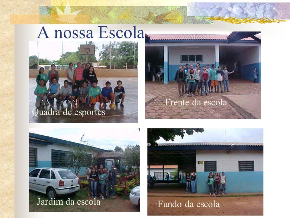 A nossa Escola Quadra de esportes Frente da escola Fundo da escola Jardim da escola