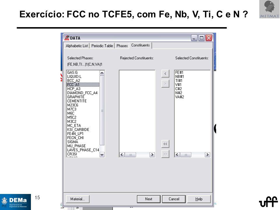 15 © 2005,14 André Luiz V. da Costa e Silva Exercício: FCC no TCFE5, com Fe, Nb, V, Ti, C e N ?