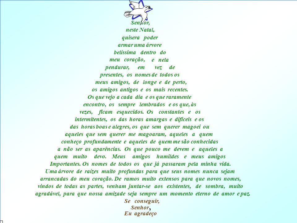 Senhor, neste Natal, quisera poder armar uma árvore belíssima dentro do os amigos antigos e os mais recentes.
