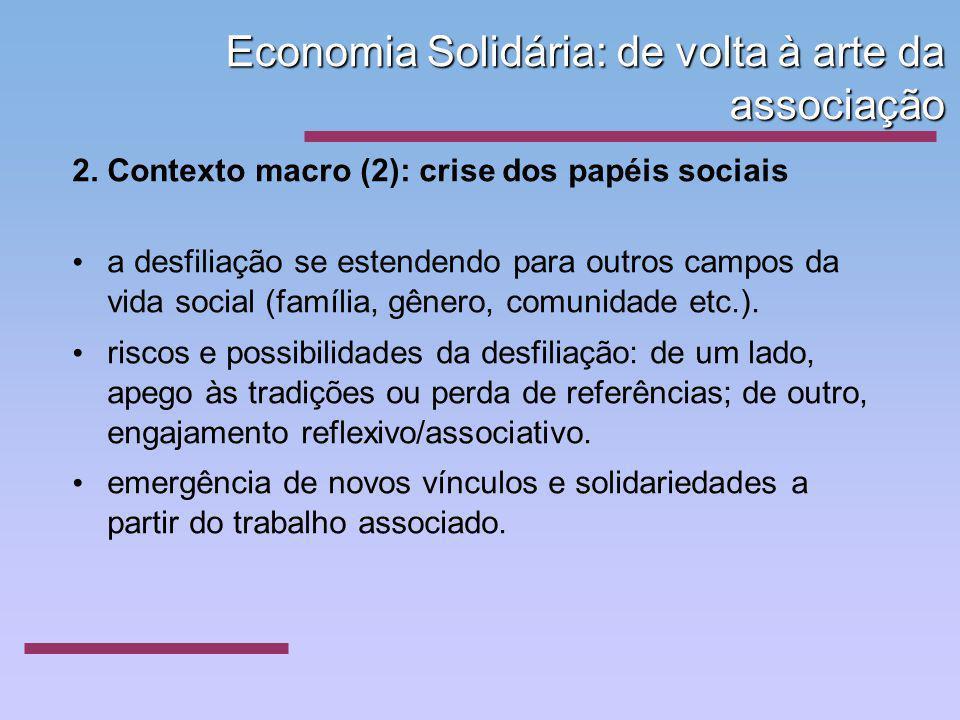 Economia Solidária: de volta à arte da associação 2. Contexto macro (2): crise dos papéis sociais a desfiliação se estendendo para outros campos da vi