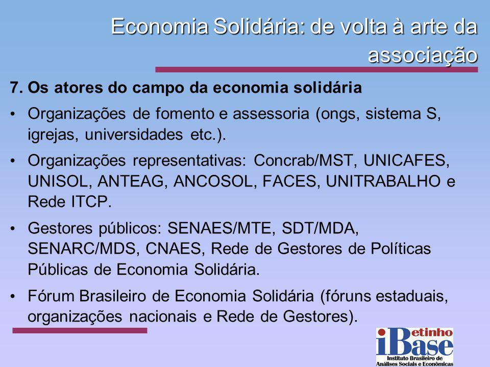 Economia Solidária: de volta à arte da associação 7. Os atores do campo da economia solidária Organizações de fomento e assessoria (ongs, sistema S, i