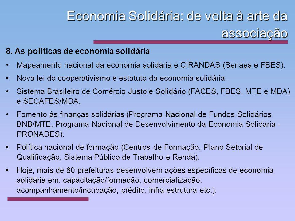 Economia Solidária: de volta à arte da associação 8. As políticas de economia solidária Mapeamento nacional da economia solidária e CIRANDAS (Senaes e