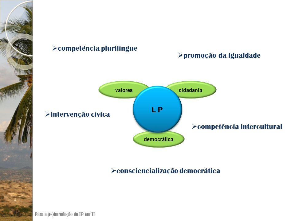  competência plurilingue  promoção da igualdade  intervenção cívica  competência intercultural  consciencialização democrática cidadaniavalores democrática L P