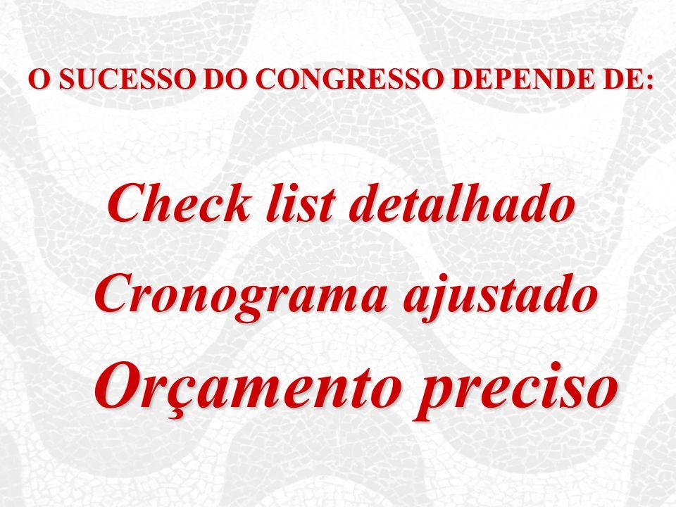 O SUCESSO DO CONGRESSO DEPENDE DE: Check list detalhado Cronograma ajustado Orçamento preciso