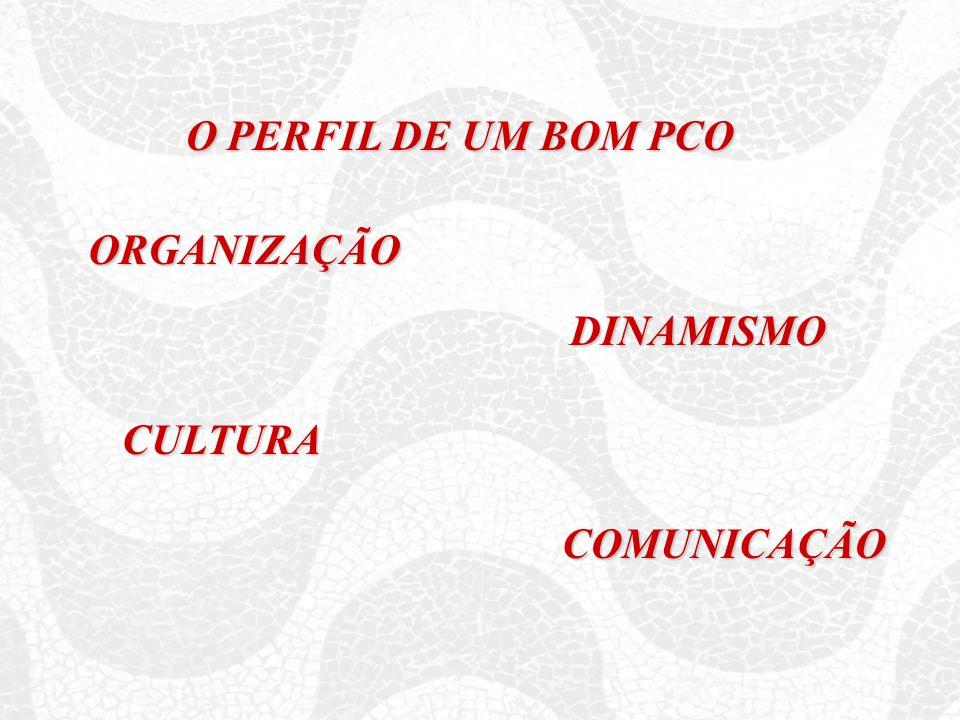 O PERFIL DE UM BOM PCO ORGANIZAÇÃO DINAMISMO CULTURA COMUNICAÇÃO