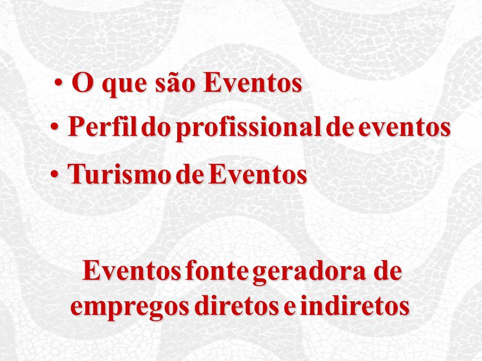 O que são Eventos O que são Eventos Perfil do profissional de eventos Perfil do profissional de eventos Turismo de Eventos Turismo de Eventos Eventos fonte geradora de Eventos fonte geradora de empregos diretos e indiretos