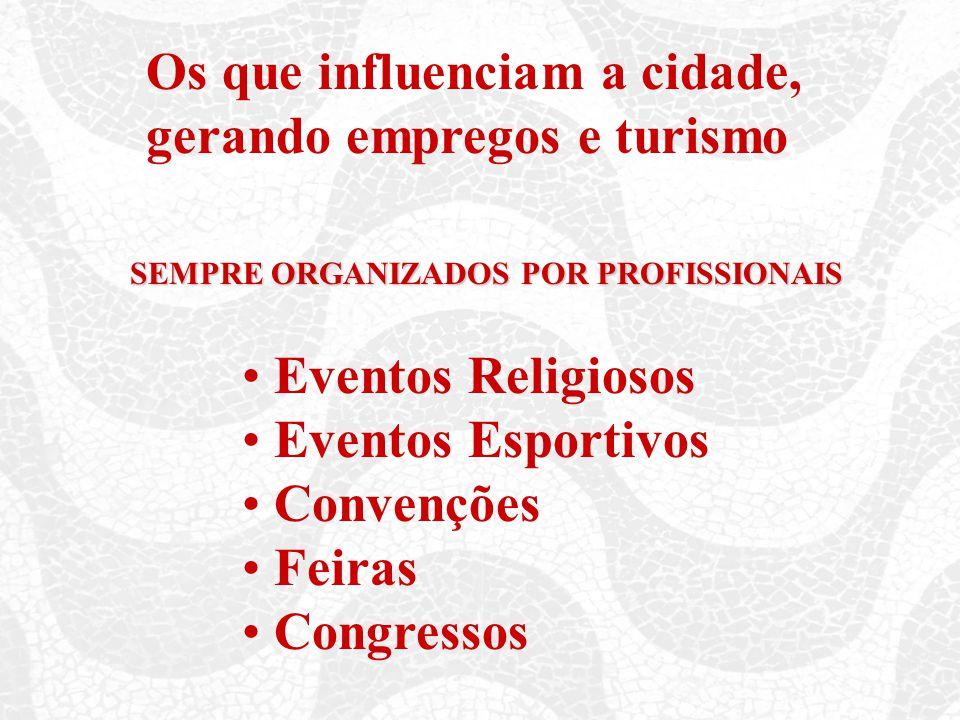 Os que influenciam a cidade, gerando empregos e turismo SEMPRE ORGANIZADOS POR PROFISSIONAIS Eventos Religiosos Eventos Esportivos Convenções Feiras Congressos