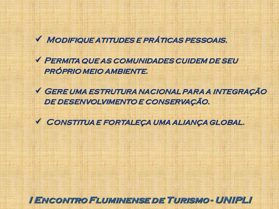 I Encontro Fluminense de Turismo - UNIPLI Modifique atitudes e práticas pessoais. Modifique atitudes e práticas pessoais. Permita que as comunidades c