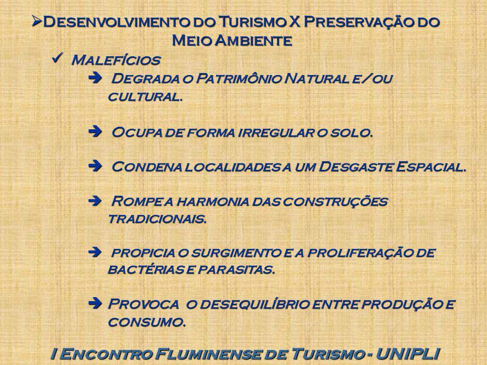 I Encontro Fluminense de Turismo - UNIPLI  Desenvolvimento do Turismo X Preservação do Meio Ambiente Malefícios Malefícios  Degrada o Patrimônio Nat