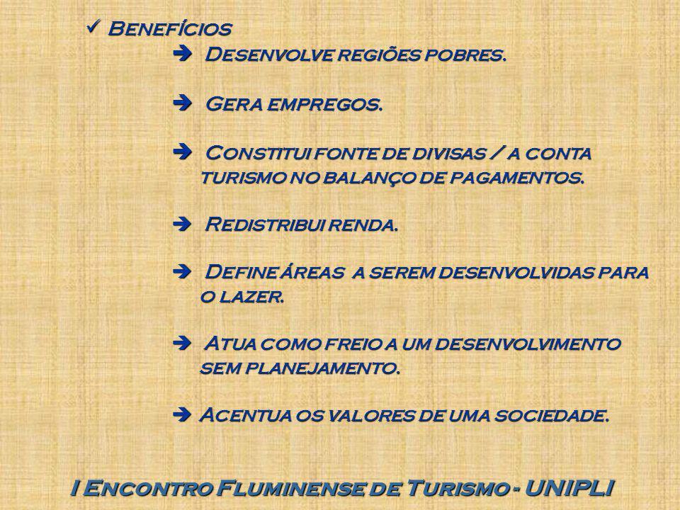 I Encontro Fluminense de Turismo - UNIPLI Benefícios Benefícios  Desenvolve regiões pobres.  Gera empregos.  Constitui fonte de divisas / a conta t