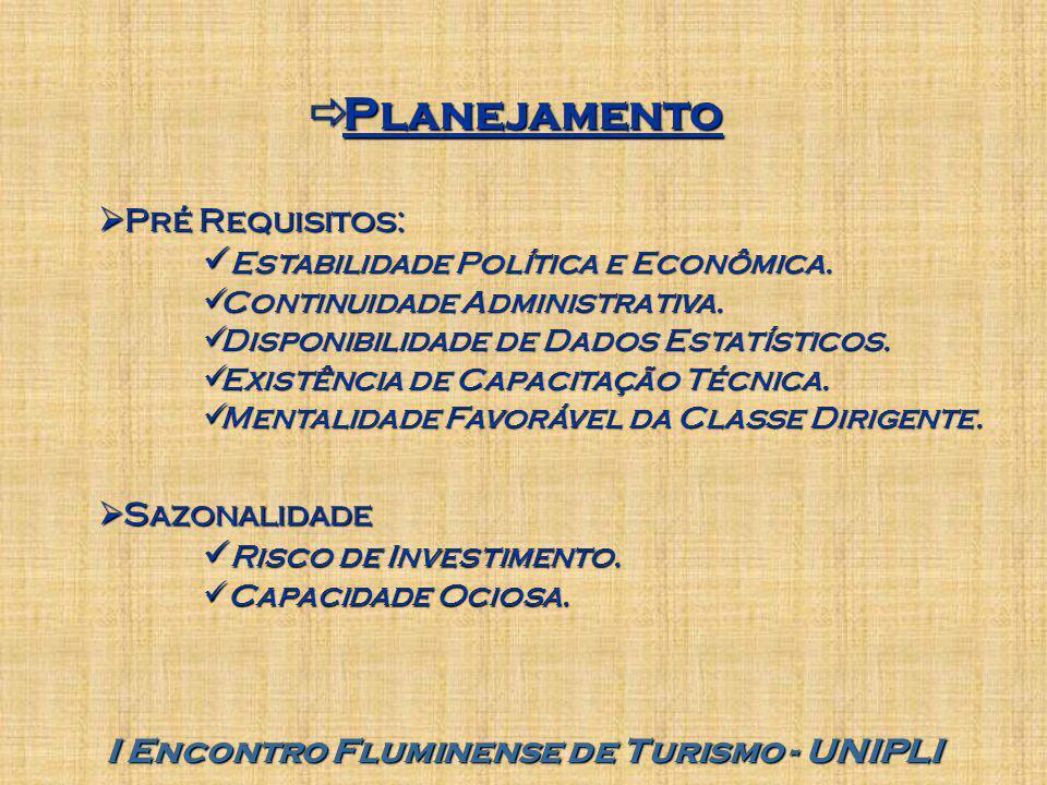  Planejamento  Pré Requisitos: Estabilidade Política e Econômica. Estabilidade Política e Econômica. Continuidade Administrativa. Continuidade Admin