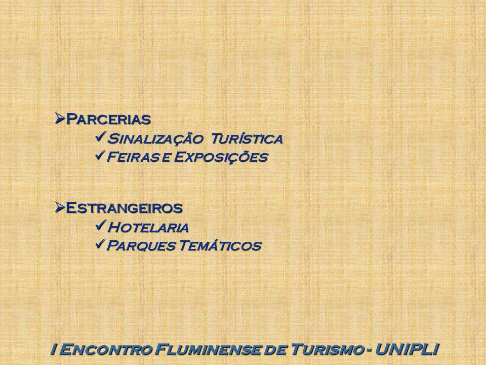 I Encontro Fluminense de Turismo - UNIPLI  Parcerias Sinalização Turística Sinalização Turística Feiras e Exposições Feiras e Exposições  Estrangeiros Hotelaria Hotelaria Parques Temáticos Parques Temáticos