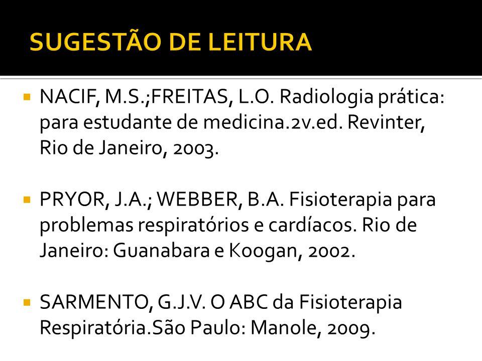  NACIF, M.S.;FREITAS, L.O. Radiologia prática: para estudante de medicina.2v.ed. Revinter, Rio de Janeiro, 2003.  PRYOR, J.A.; WEBBER, B.A. Fisioter