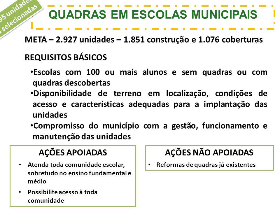 QUADRAS EM ESCOLAS MUNICIPAIS 2.095 unidades já selecionadas META – 2.927 unidades – 1.851 construção e 1.076 coberturas REQUISITOS BÁSICOS Escolas co
