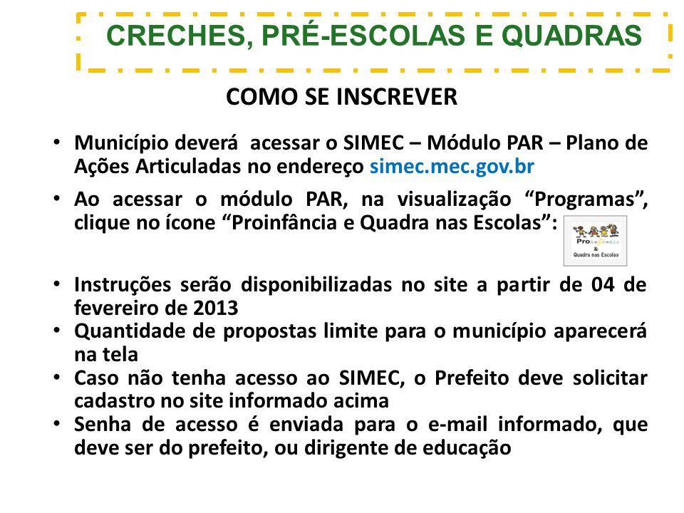 CRECHES, PRÉ-ESCOLAS E QUADRAS Município deverá acessar o SIMEC – Módulo PAR – Plano de Ações Articuladas no endereço simec.mec.gov.br Ao acessar o mó