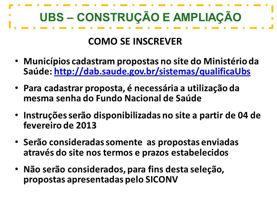 UBS – CONSTRUÇÃO E AMPLIAÇÃO COMO SE INSCREVER Municípios cadastram propostas no site do Ministério da Saúde: http://dab.saude.gov.br/sistemas/qualifi