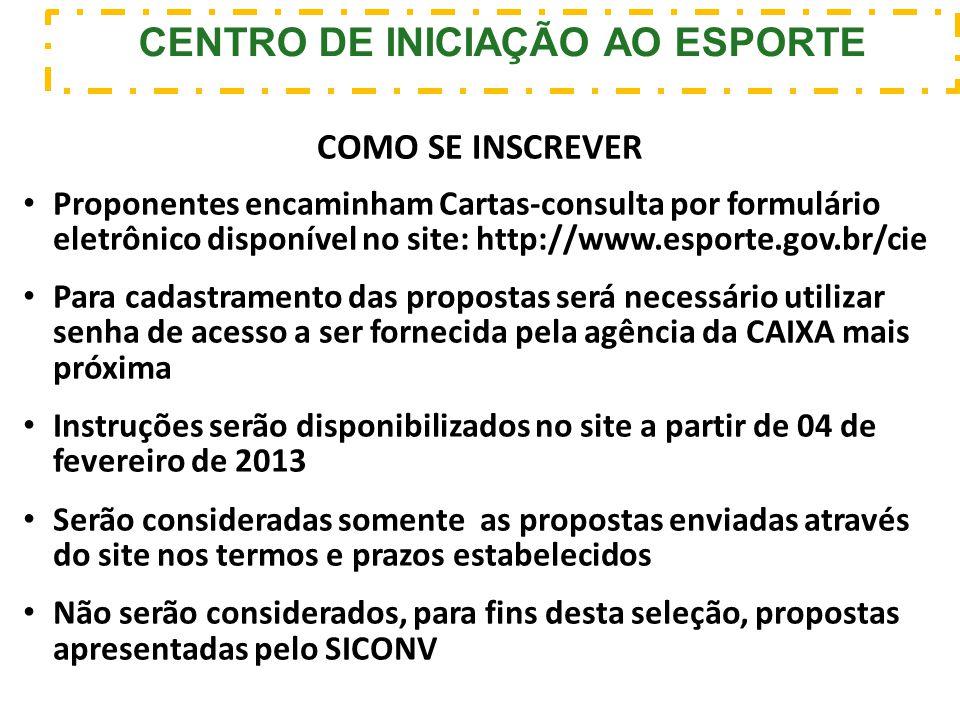 Proponentes encaminham Cartas-consulta por formulário eletrônico disponível no site: http://www.esporte.gov.br/cie Para cadastramento das propostas se