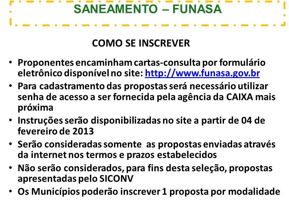 Proponentes encaminham cartas-consulta por formulário eletrônico disponível no site: http://www.funasa.gov.brhttp://www.funasa.gov.br Para cadastramen