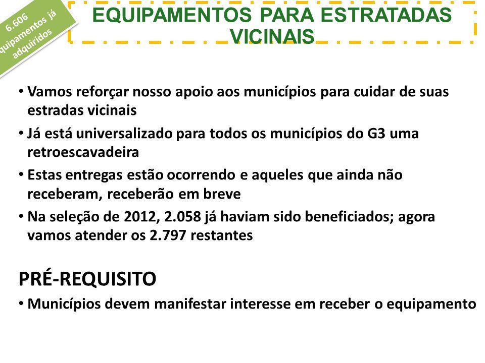 Vamos reforçar nosso apoio aos municípios para cuidar de suas estradas vicinais Já está universalizado para todos os municípios do G3 uma retroescavad