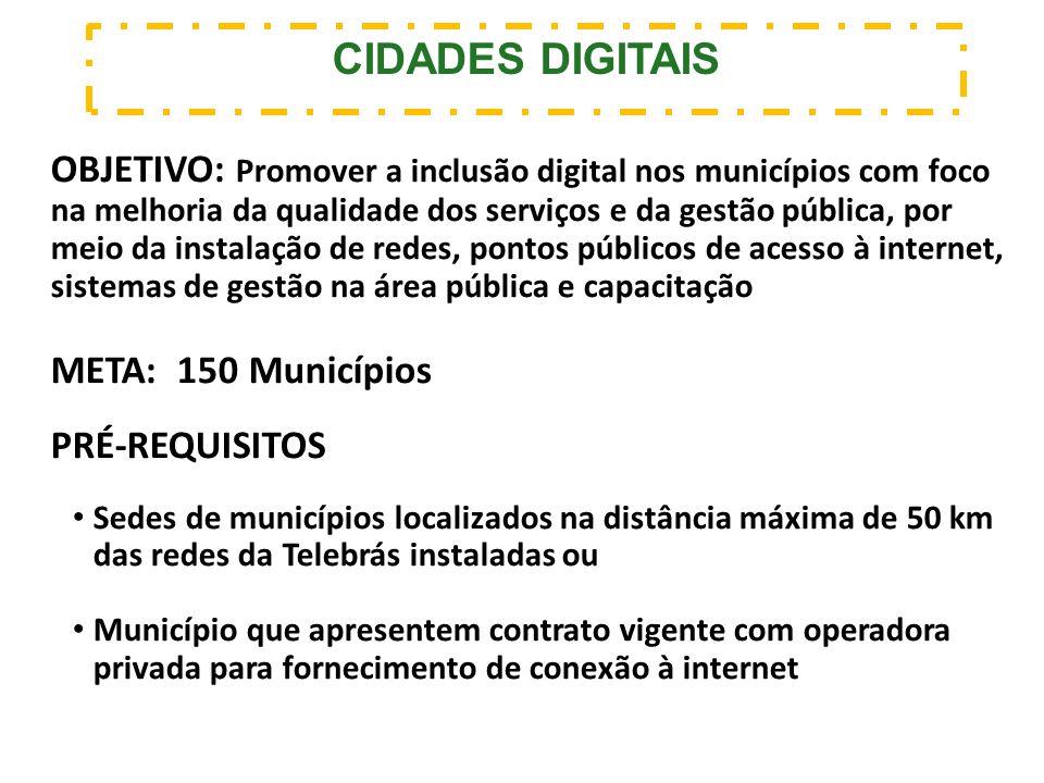 OBJETIVO: Promover a inclusão digital nos municípios com foco na melhoria da qualidade dos serviços e da gestão pública, por meio da instalação de red