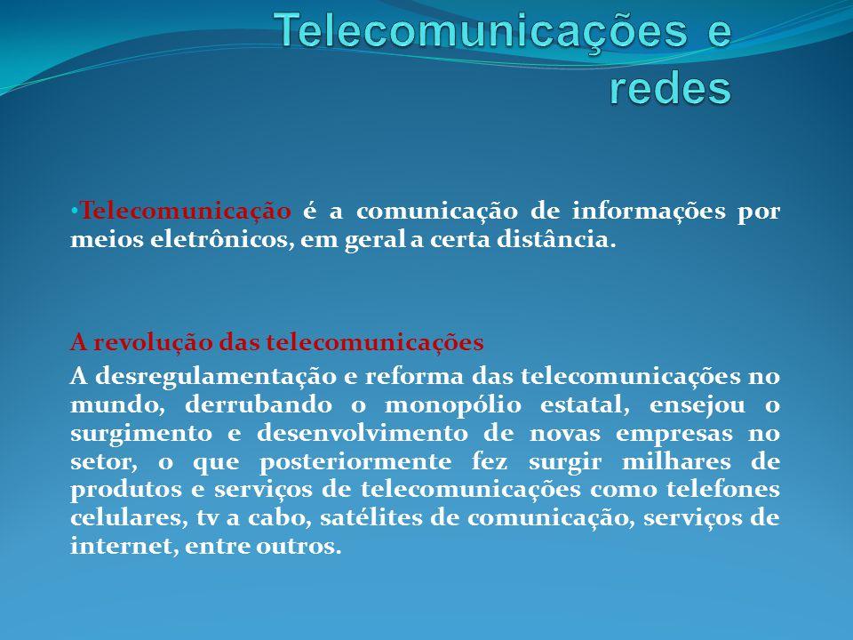 Telecomunicação é a comunicação de informações por meios eletrônicos, em geral a certa distância.