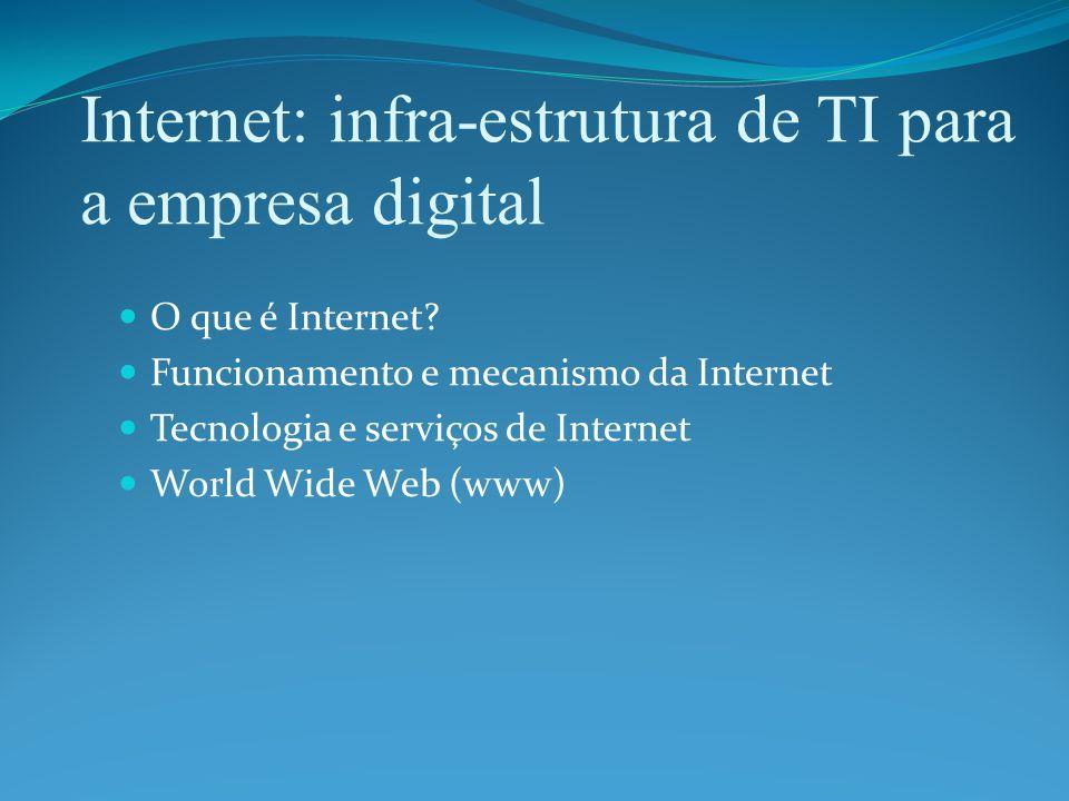 Internet: infra-estrutura de TI para a empresa digital O que é Internet.