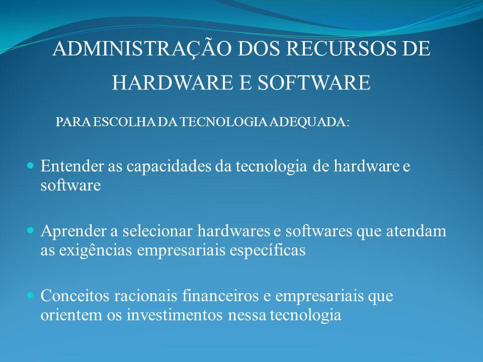 ADMINISTRAÇÃO DOS RECURSOS DE HARDWARE E SOFTWARE PARA ESCOLHA DA TECNOLOGIA ADEQUADA: Entender as capacidades da tecnologia de hardware e software Aprender a selecionar hardwares e softwares que atendam as exigências empresariais específicas Conceitos racionais financeiros e empresariais que orientem os investimentos nessa tecnologia