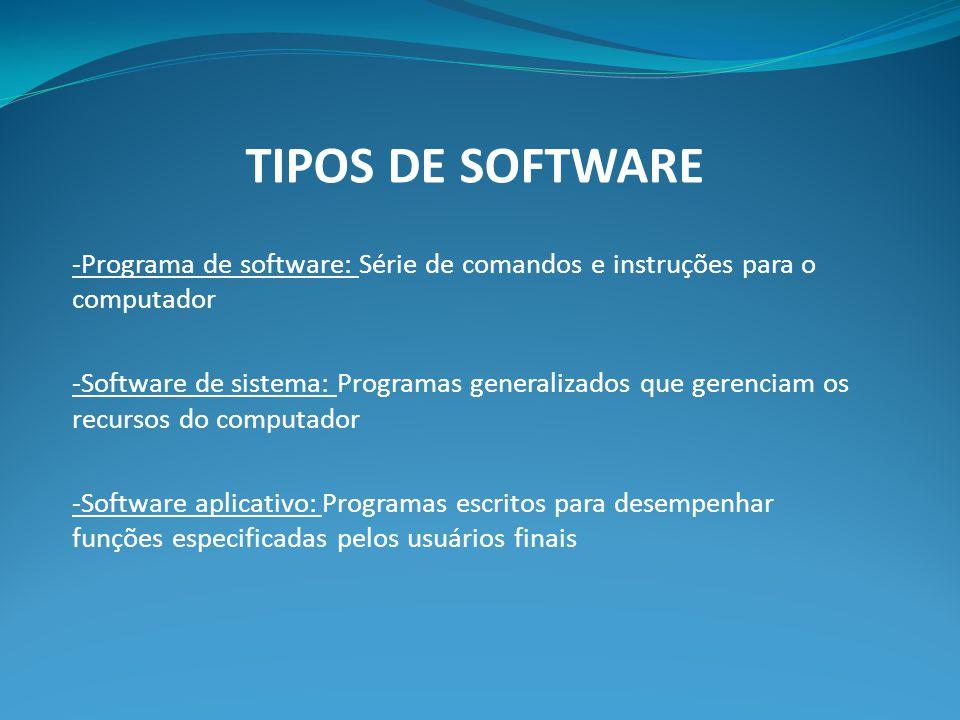 TIPOS DE SOFTWARE -Programa de software: Série de comandos e instruções para o computador -Software de sistema: Programas generalizados que gerenciam os recursos do computador -Software aplicativo: Programas escritos para desempenhar funções especificadas pelos usuários finais
