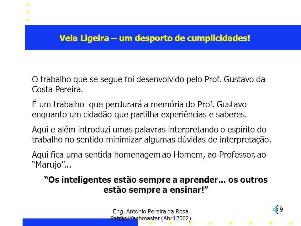Eng. António Pereira da Rosa Patrão/Yachmaster (Abril 2002) O trabalho que se segue foi desenvolvido pelo Prof. Gustavo da Costa Pereira. É um trabalh