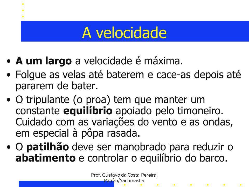 Prof.Gustavo da Costa Pereira, Patrão/Yachmaster A velocidade A um largo a velocidade é máxima.