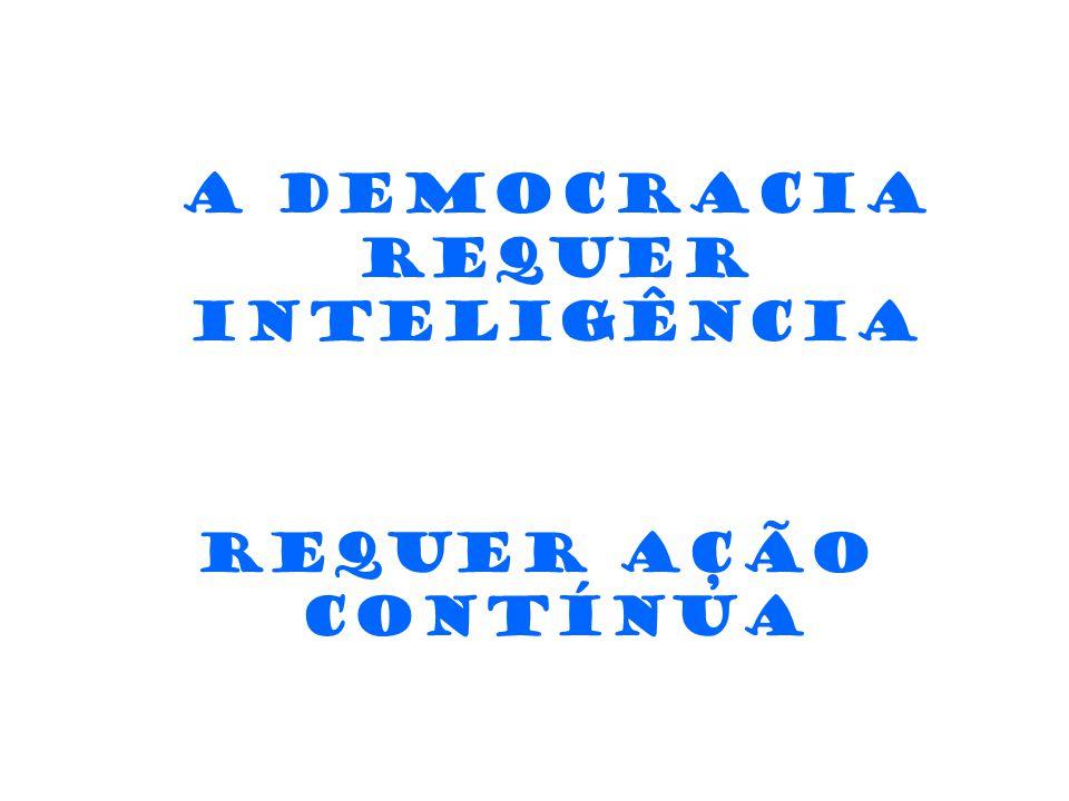 A democracia requer inteligência Requer ação contínua Requer objetivo