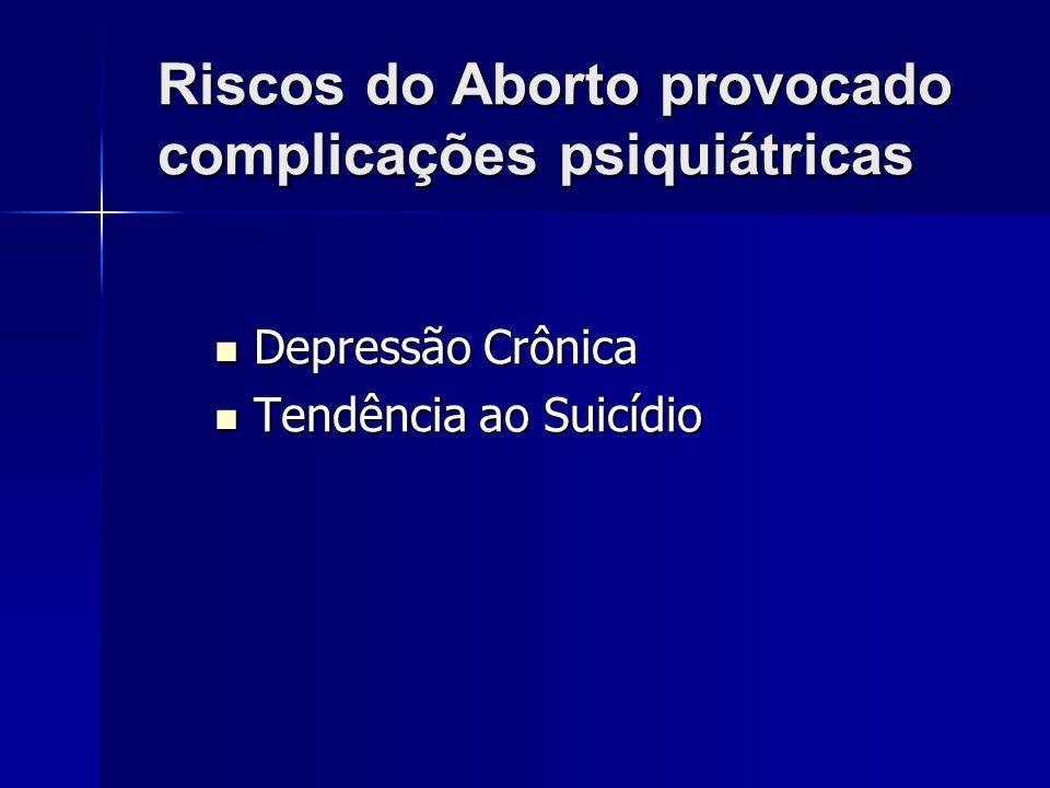 Riscos do aborto provocado complicações psicológicas Síndrome Pós Aborto –Sintomas depressivos –Sentimentos de culpa –Pesadelos recorrentes –Fuga de s
