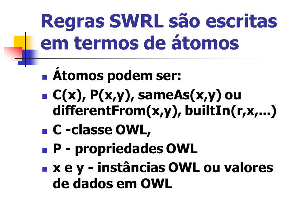 Regras SWRL são escritas em termos de átomos Átomos podem ser: C(x), P(x,y), sameAs(x,y) ou differentFrom(x,y), builtIn(r,x,...) C -classe OWL, P - pr