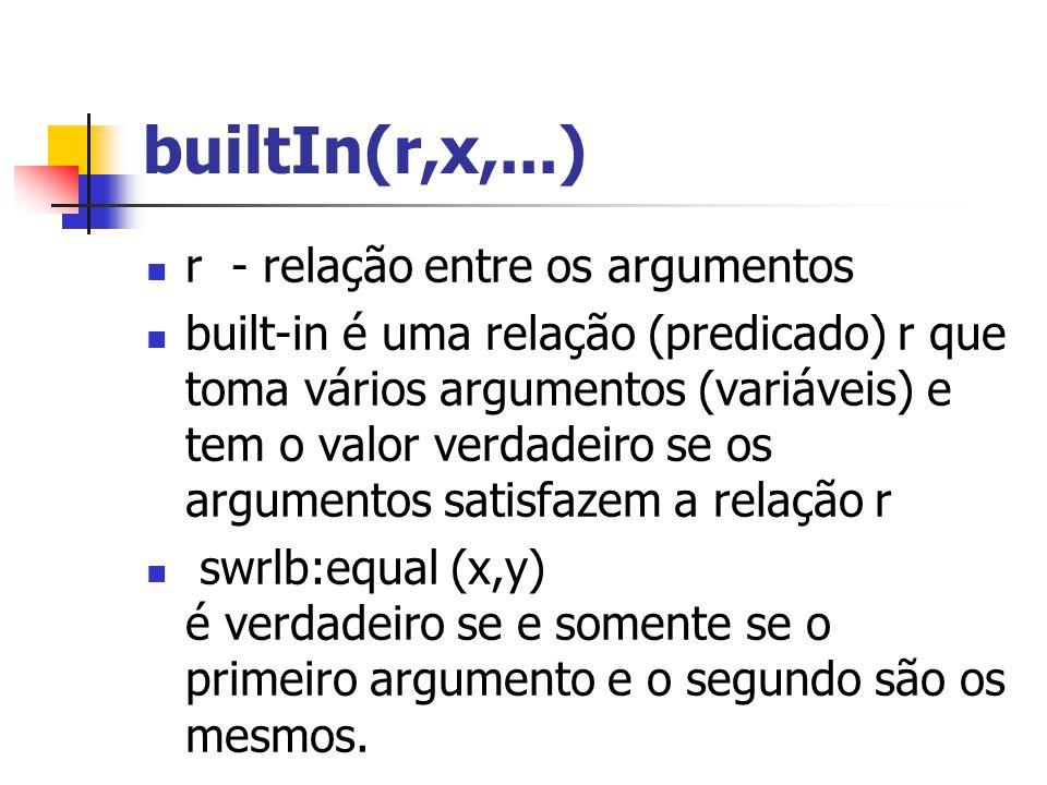builtIn(r,x,...) r - relação entre os argumentos built-in é uma relação (predicado) r que toma vários argumentos (variáveis) e tem o valor verdadeiro