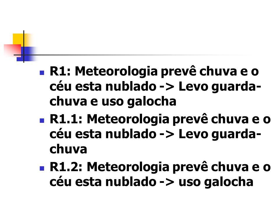 R1: Meteorologia prevê chuva e o céu esta nublado -> Levo guarda- chuva e uso galocha R1.1: Meteorologia prevê chuva e o céu esta nublado -> Levo guar