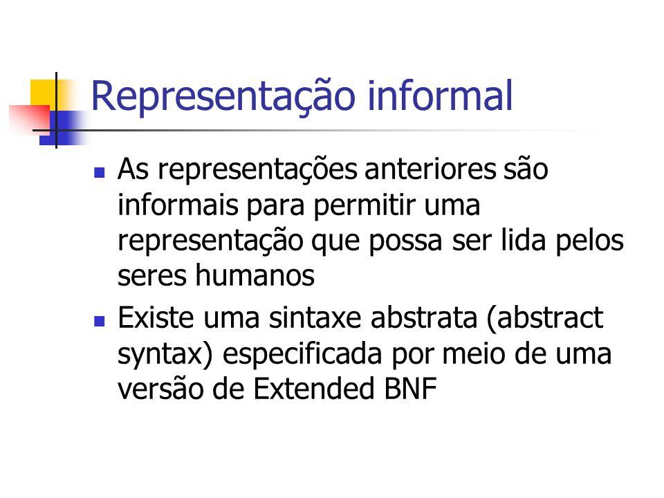 Representação informal As representações anteriores são informais para permitir uma representação que possa ser lida pelos seres humanos Existe uma si