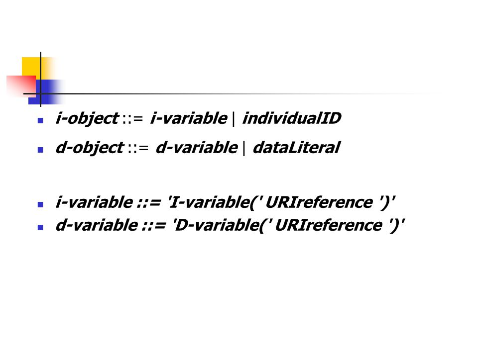 i-object ::= i-variable | individualID d-object ::= d-variable | dataLiteral i-variable ::= 'I-variable(' URIreference ')' d-variable ::= 'D-variable(