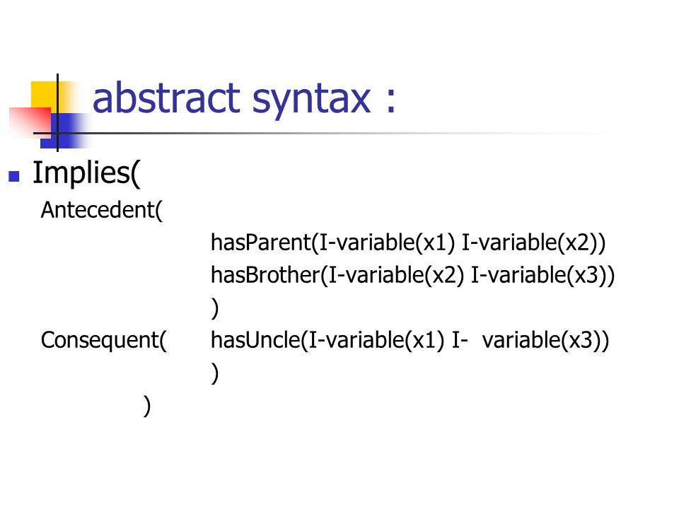 abstract syntax : Implies( Antecedent( hasParent(I-variable(x1) I-variable(x2)) hasBrother(I-variable(x2) I-variable(x3)) ) Consequent(hasUncle(I-variable(x1) I-variable(x3)) ) )