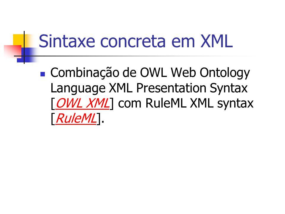 Sintaxe concreta em XML Combinação de OWL Web Ontology Language XML Presentation Syntax [OWL XML] com RuleML XML syntax [RuleML].OWL XMLRuleML