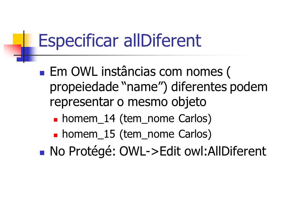 """Especificar allDiferent Em OWL instâncias com nomes ( propeiedade """"name"""") diferentes podem representar o mesmo objeto homem_14 (tem_nome Carlos) homem"""
