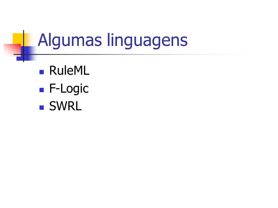 Algumas linguagens RuleML F-Logic SWRL