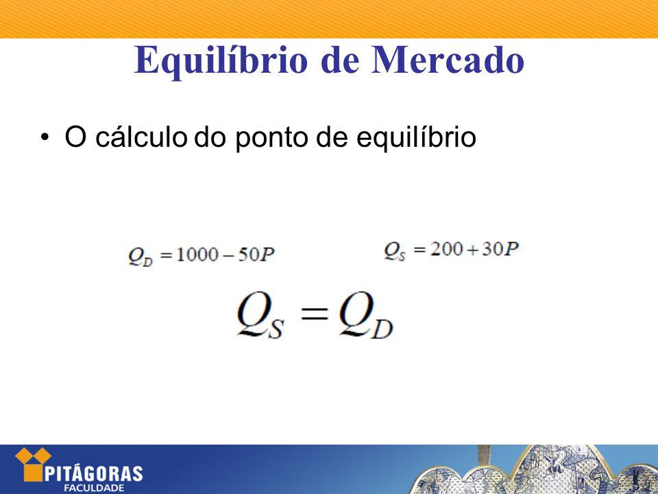 Equilíbrio de Mercado O cálculo do ponto de equilíbrio