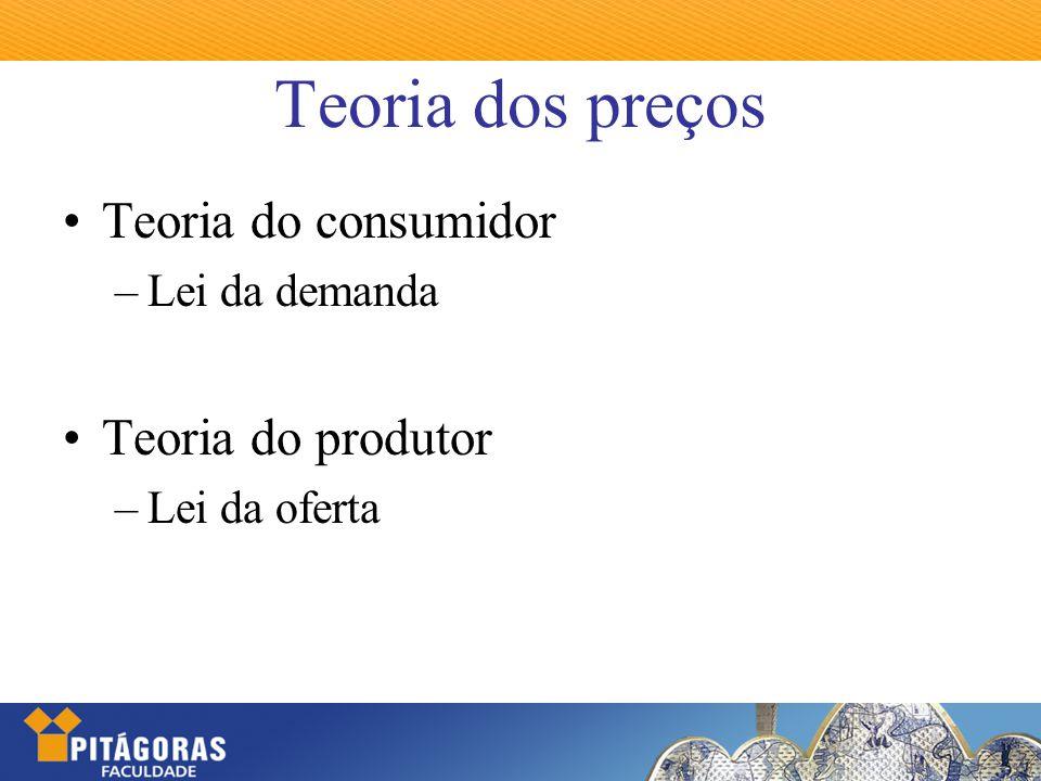Teoria dos preços Teoria do consumidor –Lei da demanda Teoria do produtor –Lei da oferta