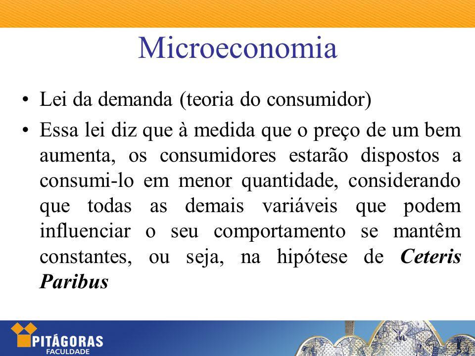 Microeconomia Lei da demanda (teoria do consumidor) Essa lei diz que à medida que o preço de um bem aumenta, os consumidores estarão dispostos a consu